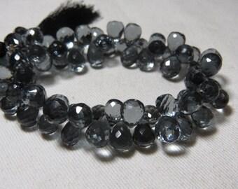 8inches -  Amazing - Gorgeous - Grey  Colour- Quartz Super Sparkle - Faceted Tear Drops Briolett Huge Size - 8 - 10 mm Long