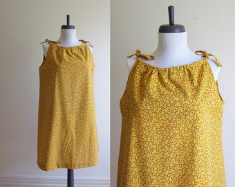 Vintage 1970s Dress / MARIGOLD Cotton Tent Sun Dress / Size Small or Medium