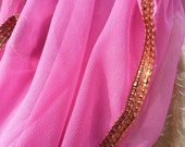 Elegant Solid Pink Mauve Chiffon Large Silky Scarf Wrap with Brown Sequin Trim Edges - Rosa H805
