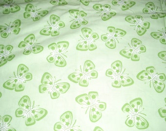 "Green butterflies on green  -  Cotton fabric -  43"" wide - sold by the yard"