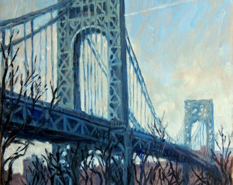 George Washington Bridge, Sunny, NYC. Realist Oil Painting, 11x14 Oil on Panel, Urban Impressionist Landcape, Signed Original Fine Art