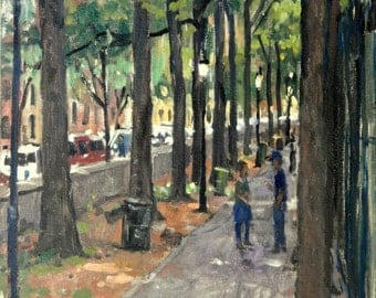 Summer Shade, Inwood Hill Park, NYC. 12x16 Realist Landscape Painting, Oil on Canvas, Impressionist Plein Air Fine Art, Signed Original Oil