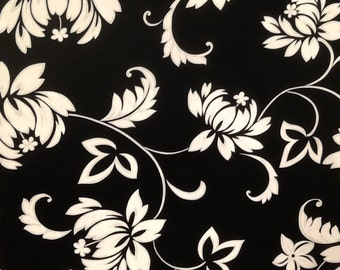 Black and White Hawaiian Print Cotton Print. (Yardage available)
