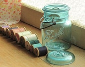 Vintage Ball Ideal Blue Mason Pint Size Wire Bail Jar with Vintage Wooden Spools Thread