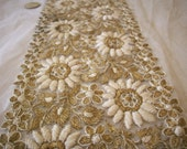 Rare metal/silk antique french lace on silk tulle