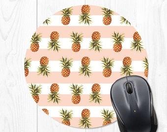 Mouse pad - Mousepad - Pineapple Mousepad - Striped Mousepad - Pink Mouse pad - Pink Mousepad - Mouse Mat - Round Mousepad - Cute Mouse Pad