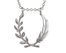 Large Feather and Olive Wreath Pendant