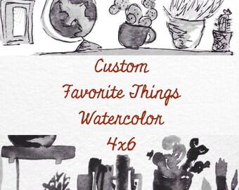 Custom Favorite Things Watercolor 4x6
