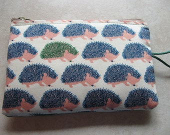 hedgehog print padded makeup jewelry bag