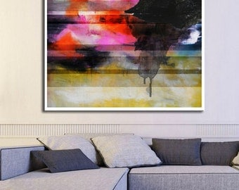 Pink Abstract Giglee print, Abstract Painting, pink red black Painting, Large Abstract Painting, Pink Blue Art Print,