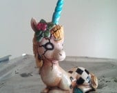 Checkered Doll Unicorn Figurine for lansama