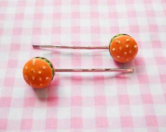 Hamburger Hair Pins, Hamburger Bobby Pins, Burger Hair Pins, Burger Bobby Pins, Food Hair Pins, Food Bobby Pins, Miniature Food, Kawaii