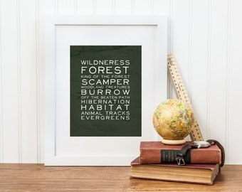 Woodland Nursery Print - Forest, Wilderness, Creatures and More Woodland Words