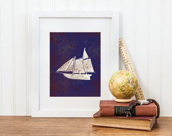 Sailboat Nursery Art - Vintage Nautical Sailboat Printable - Digital Download