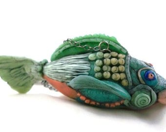 Fish ornament polymer clay sculpture gift for fisherman