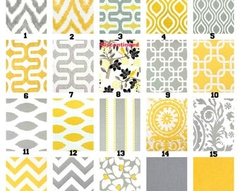 Yellow Gray Pillow Covers, Decorative Throw Pillows  Cushion Covers Grey Yellow White, Couch Bed Sofa,  Mix and Match One or More 16 x 16