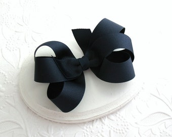 Dark Navy Blue Boutique Hair Bow, Dark Navy 6-Loop Hair Bow, Back to School / School Uniform Hair Bow Clip, Girls Hair Bow