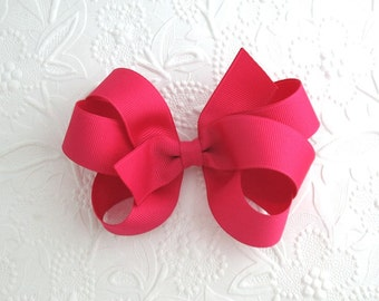 Shocking Pink Boutique Hair Bow for Girls, Toddler Girls Boutique Hair Bows, Large Bows, Double Loopy Pinwheel Hair Bows