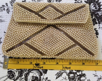 Antique pearl beaded clutch / purse with silk lining