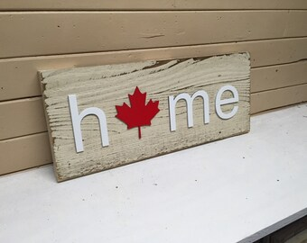 Canada HOME plaque, sign with Canadian Maple Leaf