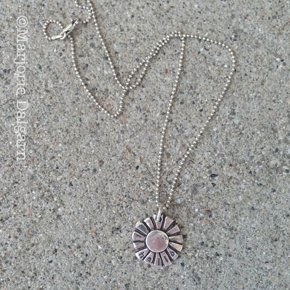 Hello Sunshine Sun Fine Silver Pendant (stamped) with Sterling Silver Chain