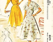 """Vintage 1950s Dress Sewing Pattern - McCall's 8979 - Misses' Fit and Flare Dress with Draped Neckline in 2 Variations - Sz 20/Bust 38"""""""