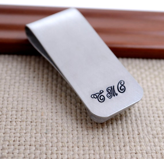 Monogramed Money Clip , Hand Stamped Custom Personalized Money Clip,  Husband Father Brother Man