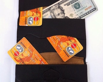 Leather Mens Wallet - Vintage Leather Wallet - Trifold Business Portfolio