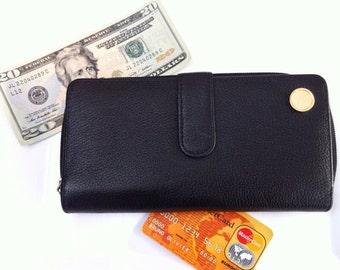 Vintage Leather Wallet - Womens Wallet - Change Purse - Black Clutch Handbag