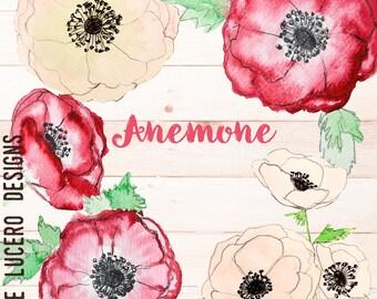 Anemonies Watercolor Botanical Clip Art PNG overlays -  5 PNG Flowers/ leaves