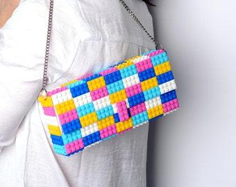 Candy multicolor clutch purse ona chain made with LEGO® bricks FREE SHIPPING purse handbag legobag trending fashion