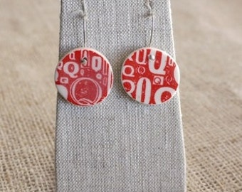 Ceramic Jewelry Red Q Newsprint Porcelain Earrings by Mrs Peterson Pottery
