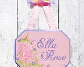 Personalized Hand Painted Rose Name Sign