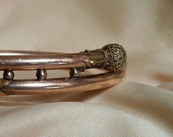 Yellow and gold rose gold antique bangle bracelet ornate rare & unusual