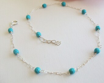 Turquoise Anklet  925 Sterling Silver, Turquose Jewelry, Handcrafted Anklet , gift for Birthday, Christmas, Mothers day, Wedding