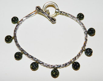 DaVinci Charm Bracelet with Green Beads