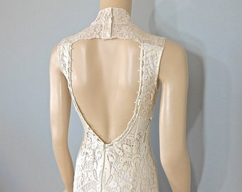 Vintage Inspired High Neck wedding Dress HIPPIE BoHo wedding dress LACE Wedding Dress MERMAID Wedding Dress Sz Medium