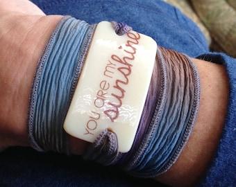 Wrap Bracelet, hand dyed silk, Fused Glass, You are my sunshine, Personalized Bracelet, sunshine, custom, personalized, song lyrics, love