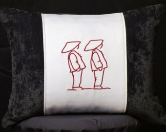 New Embroidered Black & White Chinese Couple Accent Pillow, New 12 x 16 Insert — Item 164