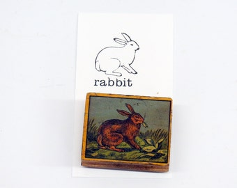 Victorian Wood Rubber Rabbit Stamp Color Lithograph Antique Farm Animal Stamp