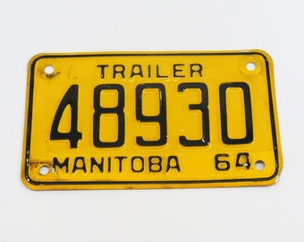 1964 Manitoba Trailer Licence Plate 48930