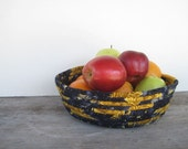 Fruit Basket - Coiled Basket - Blue & Gold Fruit Bowl - Clothesline Basket