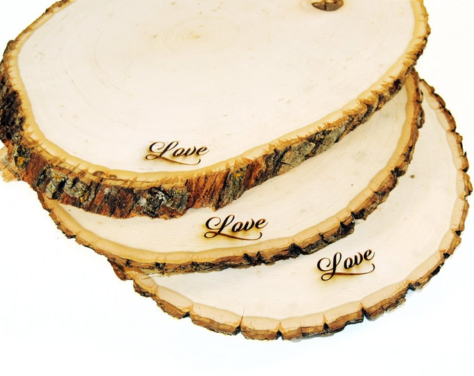 Rustic Wood Tree Slice Centerpieces, Trivets, Hot plates, Chargers -plain - 11 - 13 inch diameter