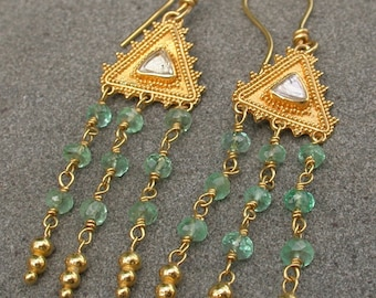 Diamond crystal earrings 22k gold with emerald beads