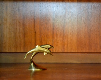 vintage brass dolphin paperweight