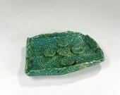 Ceramic soap dish, pottery soap holder dish, hand built stoneware soap dish, rectangle soap dish with lace impressions, turquoise glaze