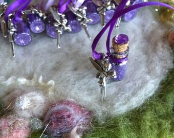 Purple Flower Fairy Birthday Party Favors 10 Fairy Charm Necklaces Fairy Sparkles Necklace Purple Pixie Glitter Magic Party Favors