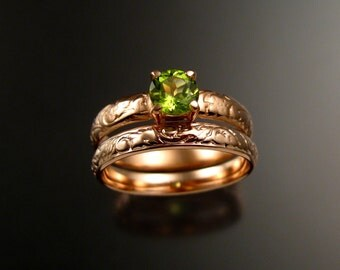 Peridot Wedding set 14k rose Gold two ring set made to order in your size pink gold engagement rings