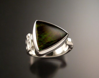 Ammolite and Plume Agate Doublet ring Sterling silver size 10 to 11 Mans Opal substitute Handmade Ring