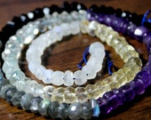 16 inch strand - 6 Different Semi-Precious Gemstone Faceted Rondelles - 4-6mm